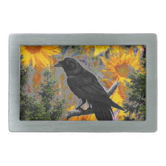 black crow & sunflowers art belt buckle