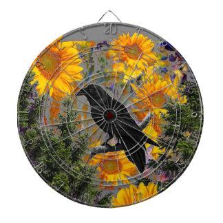 black crow & sunflowers art dartboard