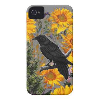 black crow & sunflowers art iPhone 4 covers