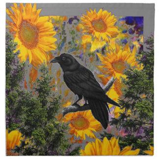black crow & sunflowers art napkin
