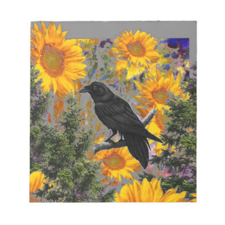 black crow & sunflowers art notepad