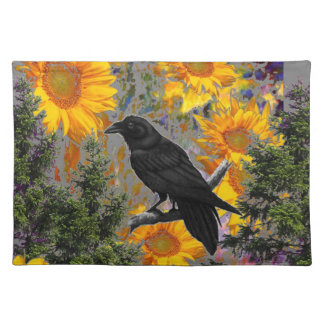 black crow & sunflowers art placemat