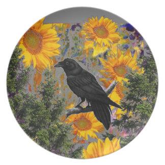 black crow & sunflowers art plate
