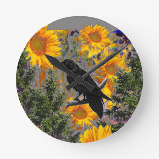 black crow & sunflowers art round clock