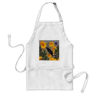 black crow & sunflowers art standard apron