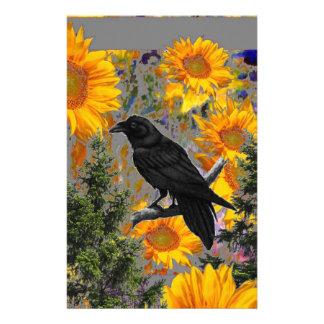 black crow & sunflowers art stationery