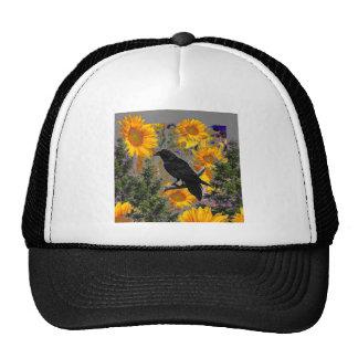 black crow & sunflowers art trucker hat