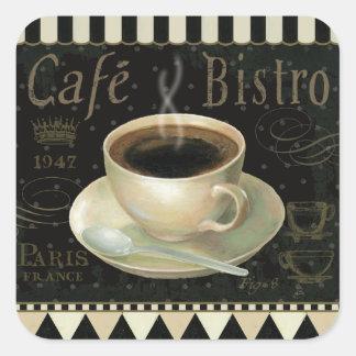 Black Cup of Coffee Square Sticker