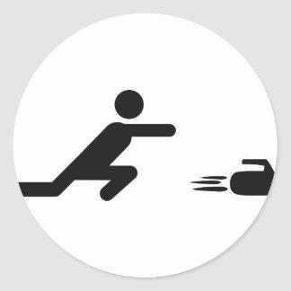 black curling icon round sticker