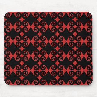 Black Curly Diamond Pattern Mouse Pad