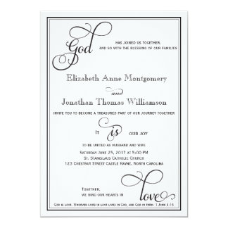 Black Curly Script God is Love Christian Wedding Card