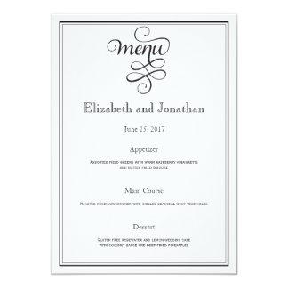 Black Curly Script Wedding Reception Menu Card