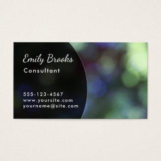 Black Curve over Green & Purple Bokeh Business Card