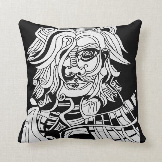 Black cushion with abstract skull animan drawing