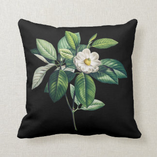 Black cushion with white magnolia