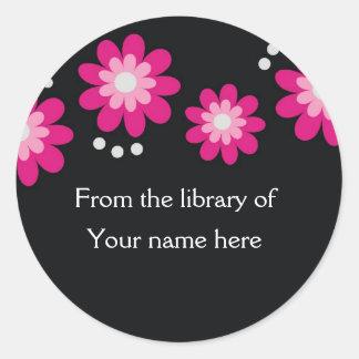 Black Custom Bookplates - Pink Flowers Classic Round Sticker