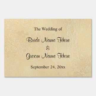 Black Custom Text on Beige Abstract Wedding Sign