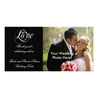 Black Customizable Wedding Thank You Photo Cards