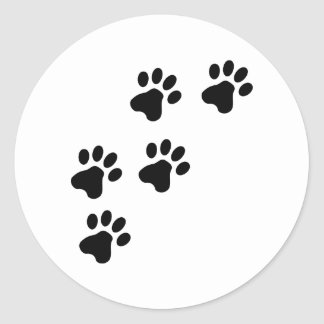 black cute dog paws doggy classic round sticker