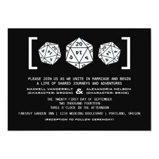 Black D20 Dice Gamer Wedding Invitation