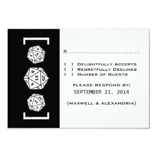 Black D20 Dice Gamer Wedding Response Card