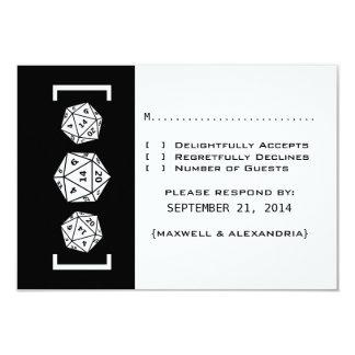 "Black D20 Dice Gamer Wedding Response Card 3.5"" X 5"" Invitation Card"