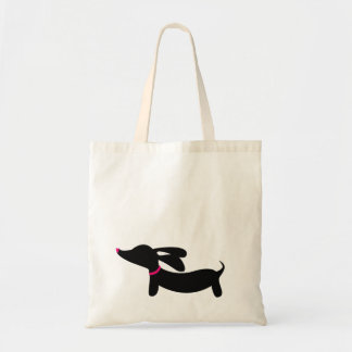 Black Dachshund + Pink Accents | Tote Bag