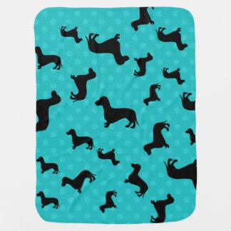 Black dachshund turquoise polka dots baby blanket