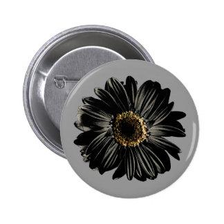 Black Daisy 2 Inch Round Button