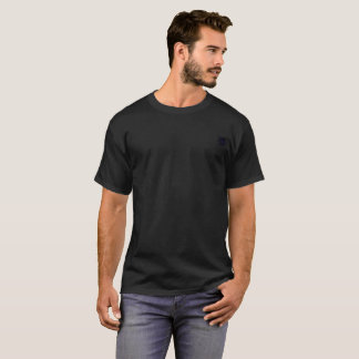 Black Daisy on Pocket Area on Black 6x Plus Size T-Shirt