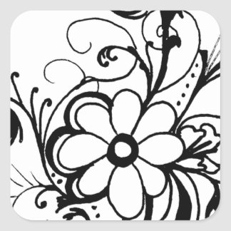 black daisy.png square sticker