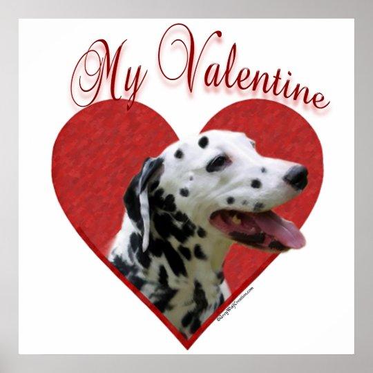 Black Dalmatian My Valentine Poster