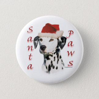 Black Dalmatian Santa Paws - Button
