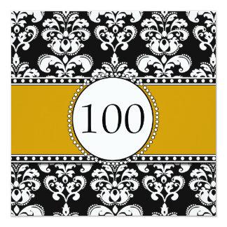 Black Damask 100th Birthday Invitations Gold