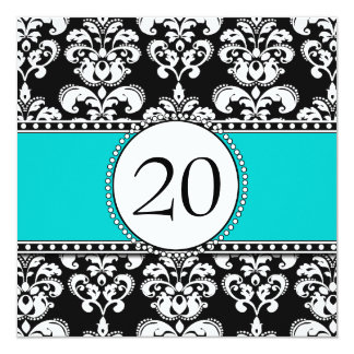 Black Damask 20th Birthday Invitations Aqua Blue