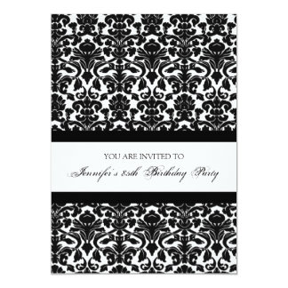 "Black Damask 85th Birthday Party Invitations 5"" X 7"" Invitation Card"