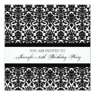 Black Damask 85th Birthday Party Invitations