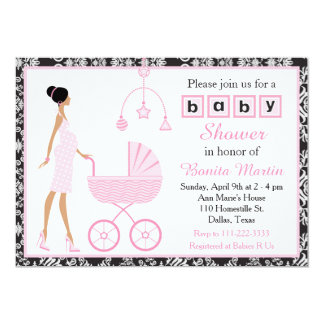 Black Damask African American Girl Baby Shower Card