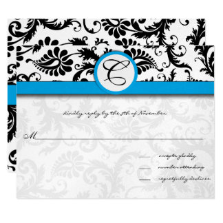 Black Damask Aquamarine Trim Wedding Invitations