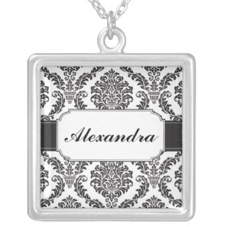 Black Damask Banded Personalized Necklace