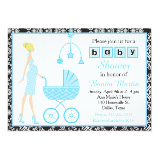Black Damask Blonde Expecting Girl Baby Shower Card