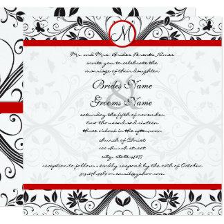 Black Damask Butterfly Swirls Red Wedding Invites