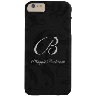 Black Damask Classic Monogrammed Barely There iPhone 6 Plus Case