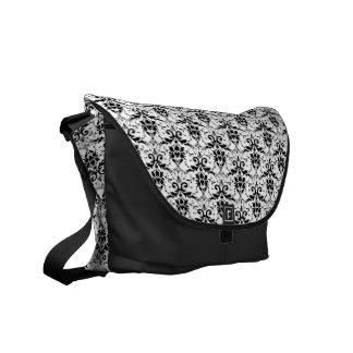 Black Damask Courier Bag