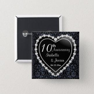 Black Damask Diamond 10th Anniversary Wedding 2 Inch Square Button