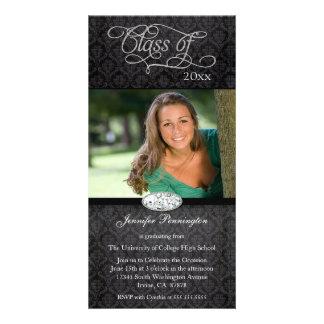 Black damask diamond graduation party announcement card