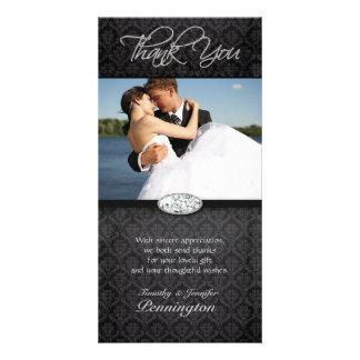 Black damask diamond wedding thank you photo card