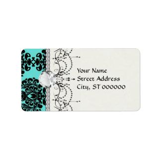 black damask elegance on aqua blue personalized address labels