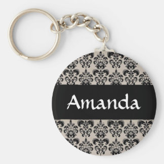 Black Damask Floral Personalized Name Key Chain