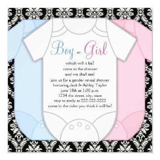 Black Damask Gender Reveal Card